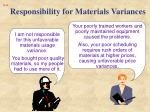 responsibility for materials variances