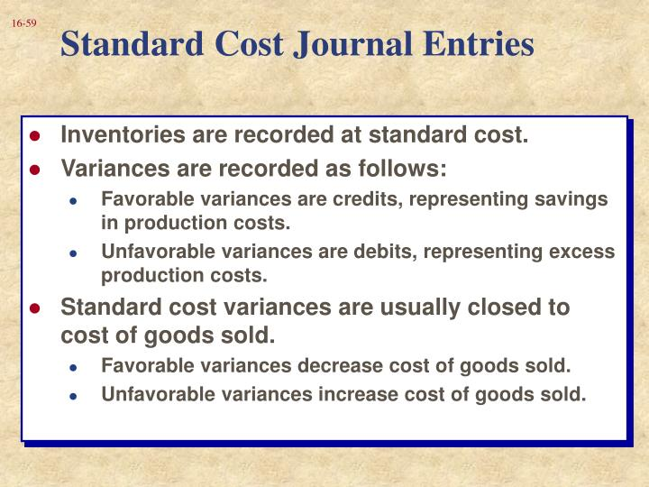 Standard Cost Journal Entries
