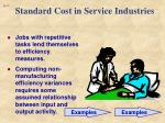 standard cost in service industries