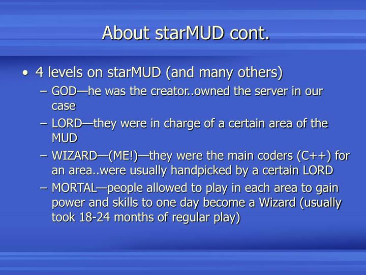 About starMUD cont.