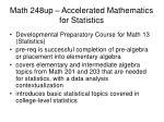 math 248up accelerated mathematics for statistics