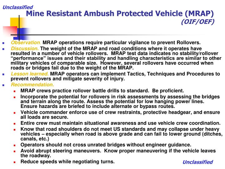 Mine resistant ambush protected vehicle mrap oif oef