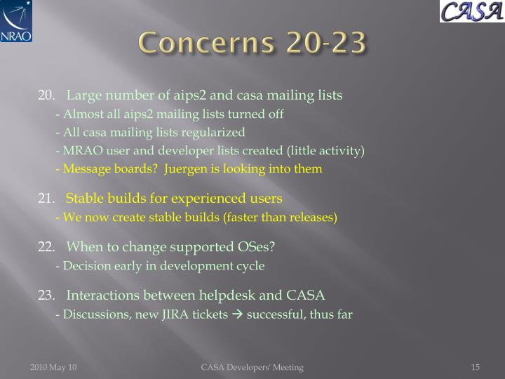 Concerns 20-23