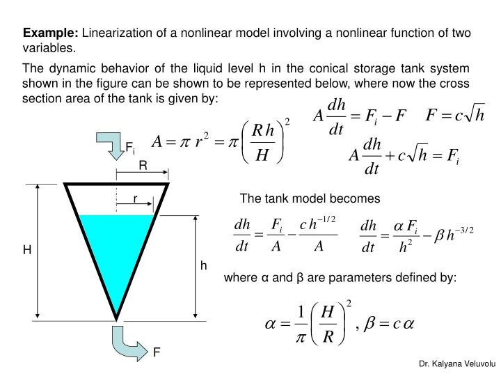 Example linearization of a nonlinear model involving a nonlinear function of two variables