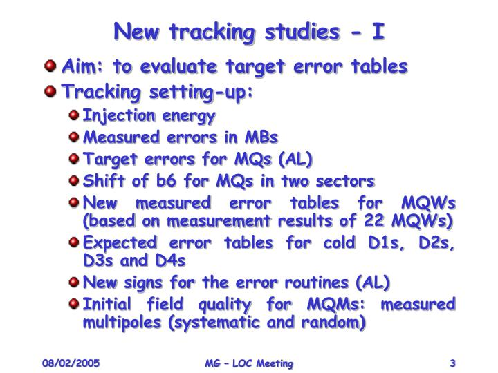 New tracking studies - I