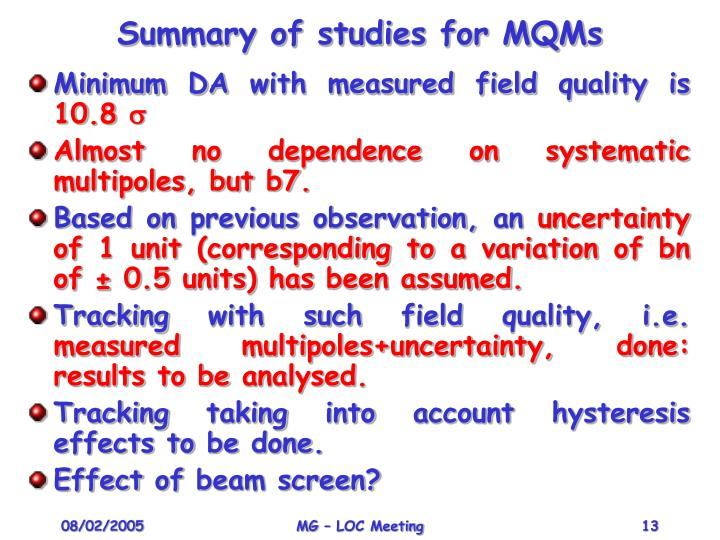Summary of studies for MQMs