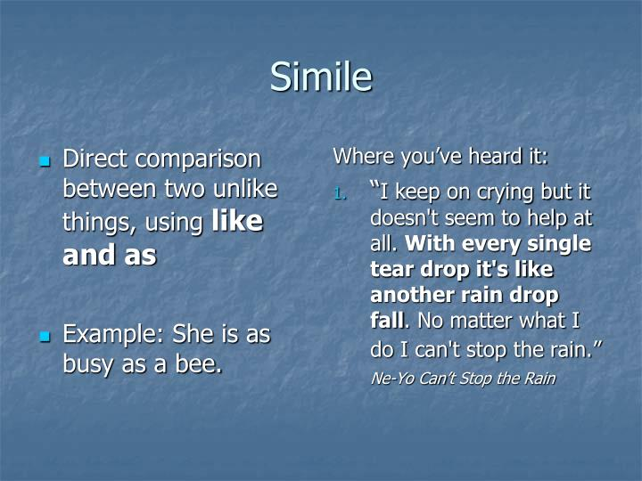 Direct comparison between two unlike things, using