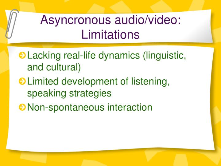 Asyncronous audio/video: Limitations