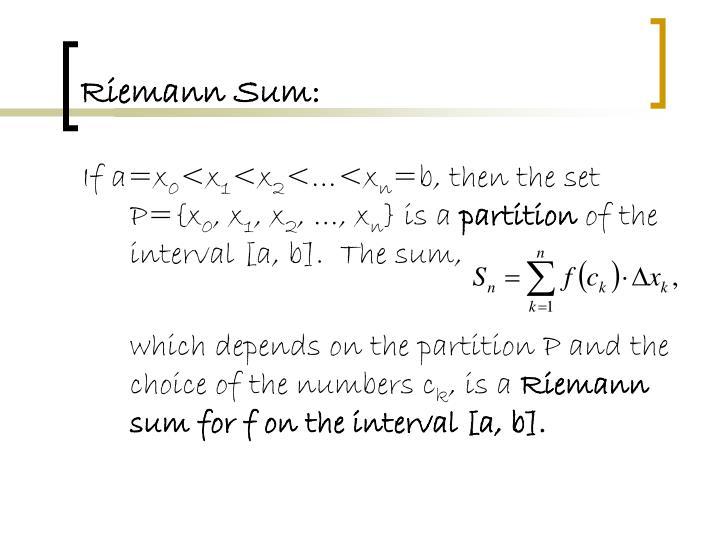 Riemann Sum: