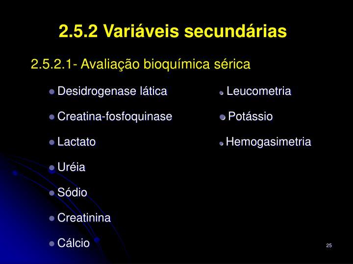 2.5.2 Variáveis secundárias