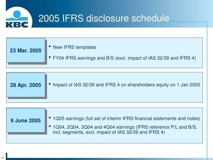 2005 IFRS disclosure schedule