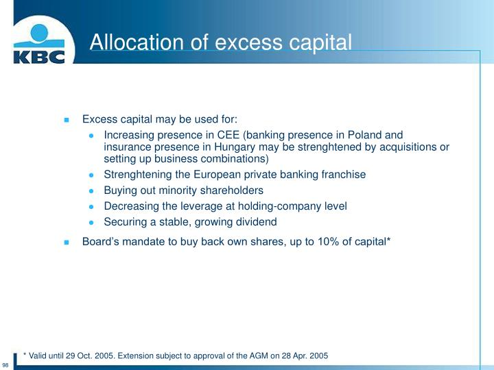 Allocation of excess capital