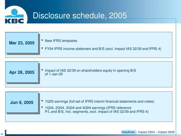 Disclosure schedule, 2005