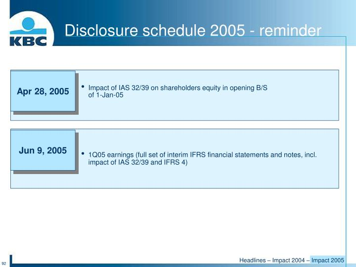 Disclosure schedule 2005 - reminder