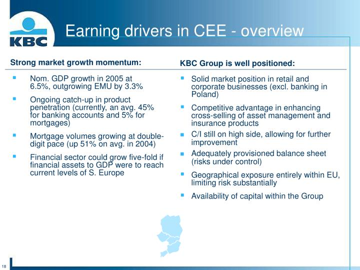 Earning drivers in CEE - overview