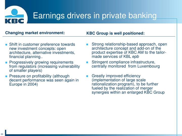 Earnings drivers in private banking