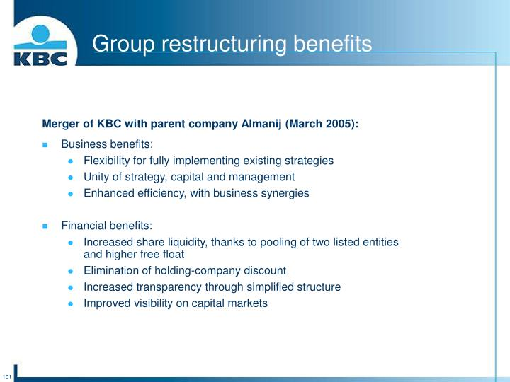Group restructuring benefits