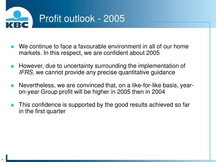 Profit outlook - 2005