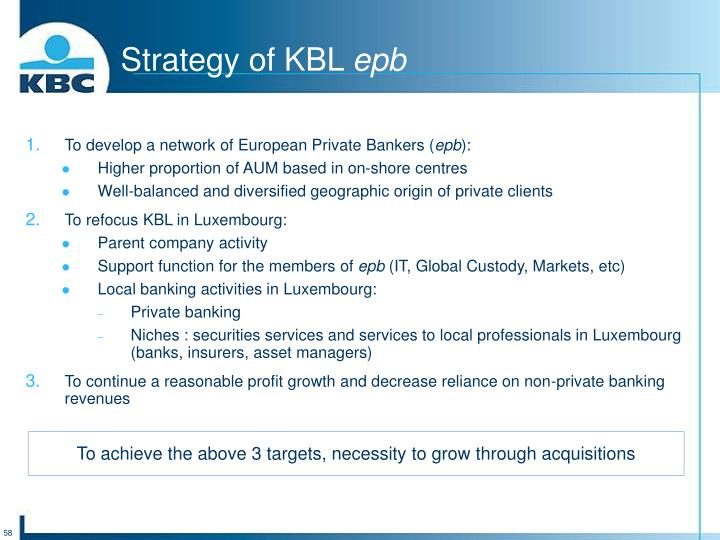 Strategy of KBL
