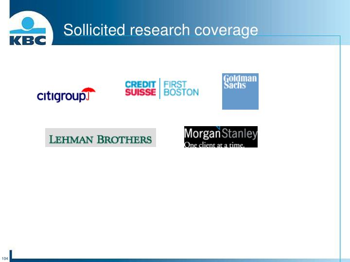 Sollicited research coverage