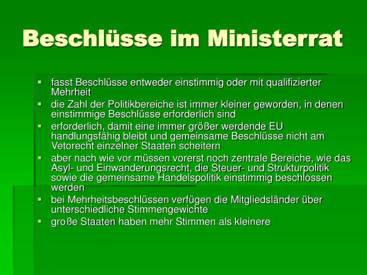 Beschlüsse im Ministerrat