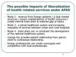 the possible impacts of liberalization of health related services under afas