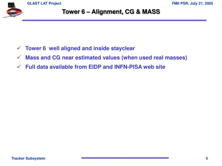 Tower 6 – Alignment, CG & MASS