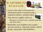 if advised to evacuate