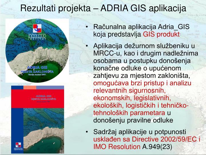 Rezultati projekta – ADRIA GIS aplikacija