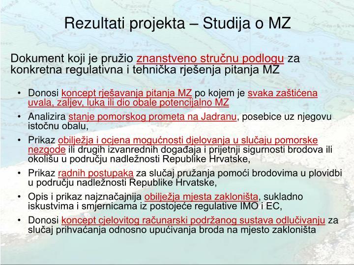 Rezultati projekta – Studija o MZ