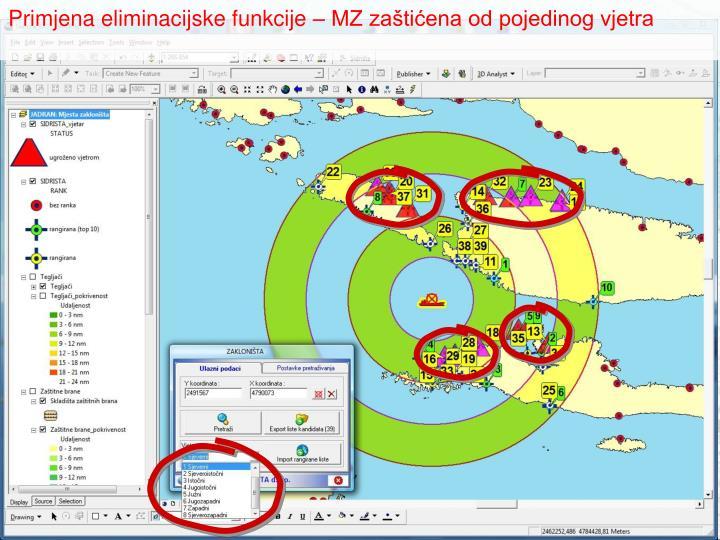 Primjena eliminacijske funkcije – MZ zaštićena od pojedinog vjetra