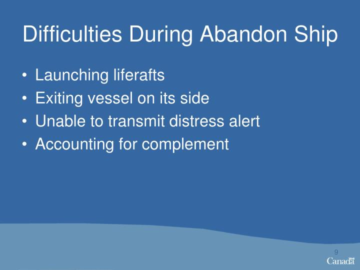 Difficulties During Abandon Ship