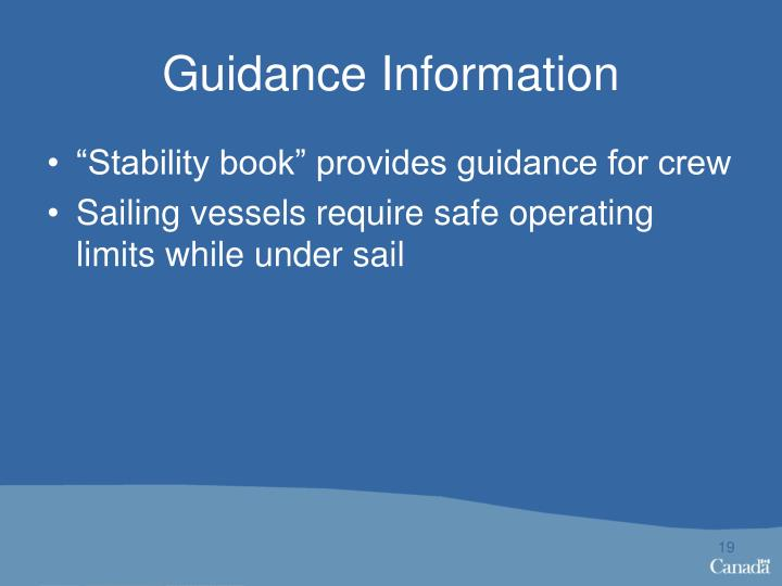 Guidance Information
