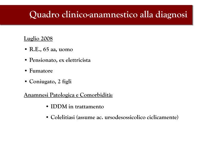 Quadro clinico-anamnestico alla diagnosi