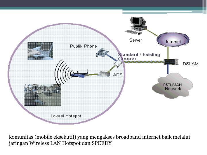 komunitas (mobile eksekutif) yang mengakses broadband internet baik melalui jaringan Wireless LAN Hotspot dan SPEEDY