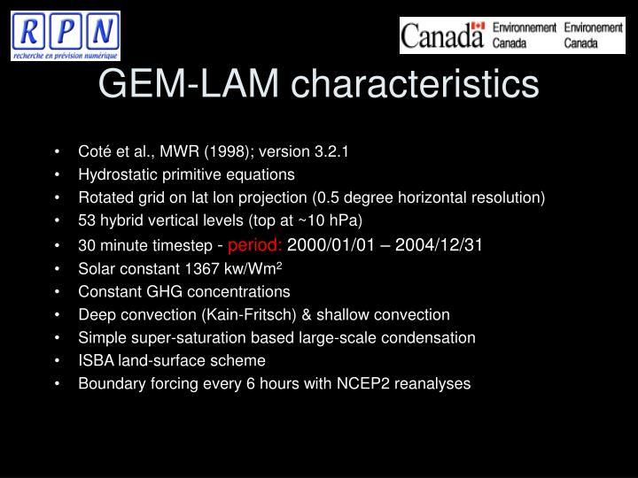 GEM-LAM characteristics