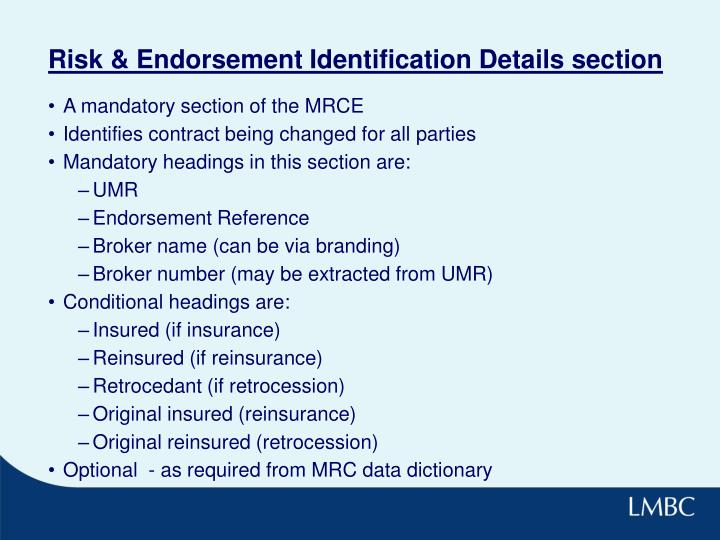 Risk & Endorsement Identification Details section