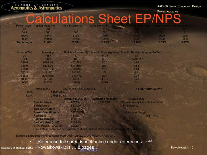 Calculations Sheet EP/NPS