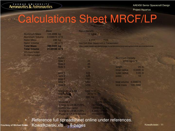 Calculations Sheet MRCF/LP