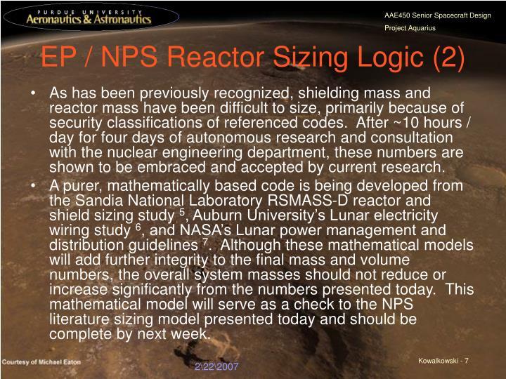 EP / NPS Reactor Sizing Logic (2)