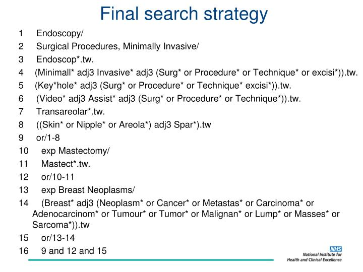 Final search strategy