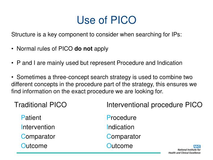 Use of PICO