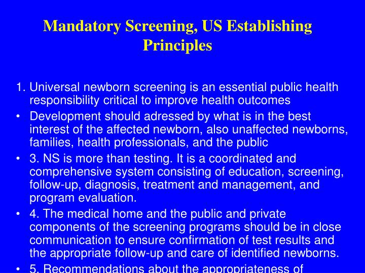 Mandatory Screening, US