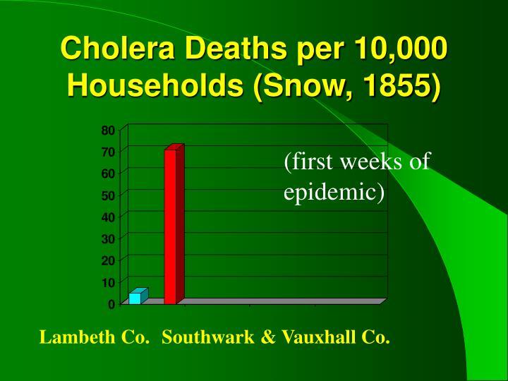 Cholera Deaths per 10,000 Households (Snow, 1855)