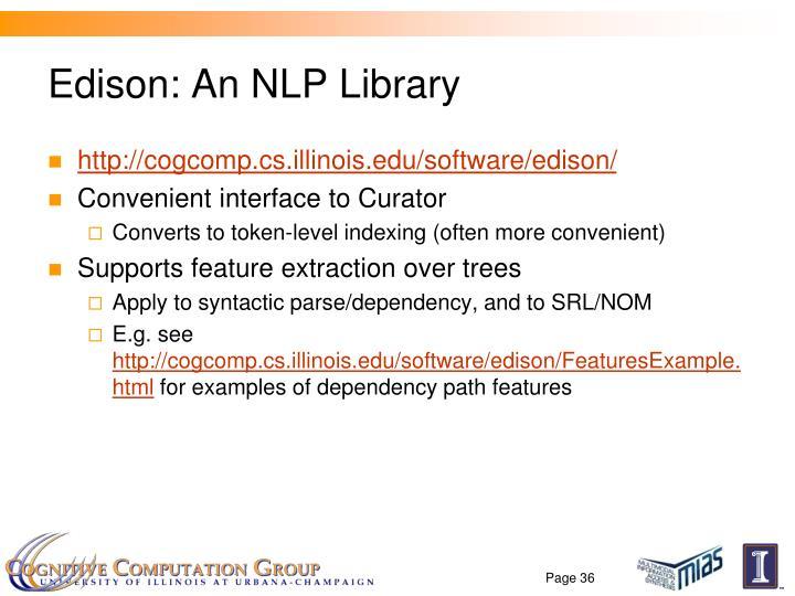 Edison: An NLP Library