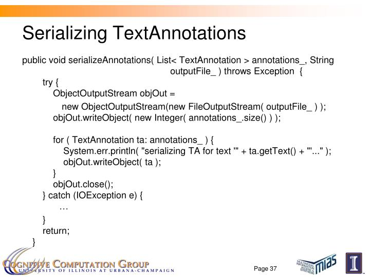 Serializing TextAnnotations