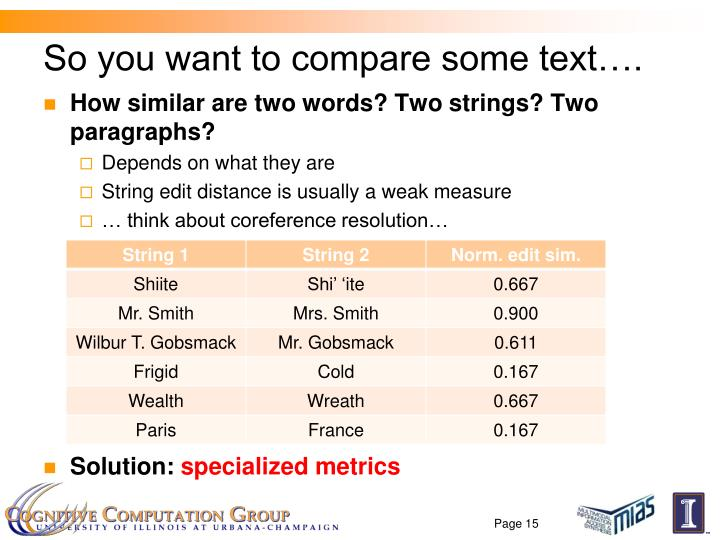 So you want to compare some text….