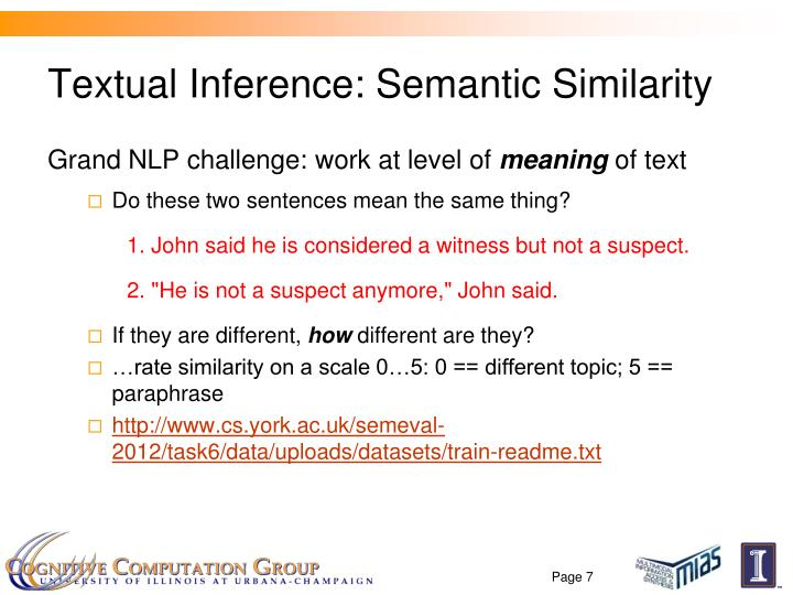 Textual Inference: Semantic Similarity