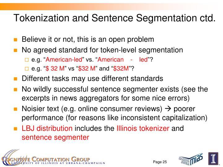 Tokenization and Sentence Segmentation ctd.