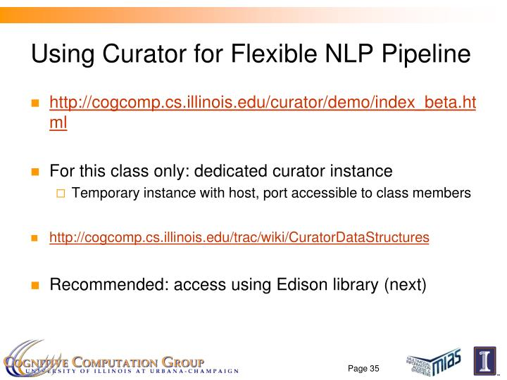 Using Curator for Flexible NLP Pipeline